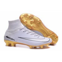 NK Mercurial Superfly CR7 Vitórias FG boots-White&Golden picture and image
