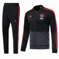 18-19 Mancehster United Black&Gray Training Kit(Jacket+Trouser) picture and image