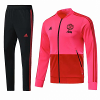 18-19 Mancehster United Pink&Black Training Kit(Jacket+Trouser) picture and image