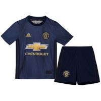 18-19 Manchester United Third Away Navy Children's Jersey Kit(Shirt+Short) picture and image