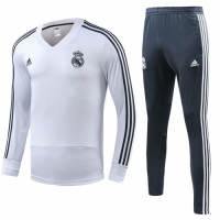 18-19 Real Madrid White&Green Training Kit( Sweat Top Shirt+Trouser) picture and image