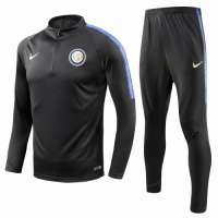 18-19 Inter Milan Black Training Kit(Zipper Sweat Top Shirt+Trousers) picture and image