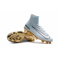 NK Mercurial Superfly CR7 Vitórias FG Soccer Cleats-Blue&Golden picture and image