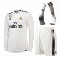 18-19 Real Madrid Home White Long Sleeve Jersey Kit(Shirt+Short) picture and image