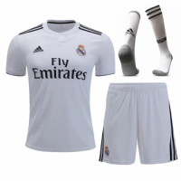 18-19 Real Madrid Home White Soccer Jersey Whole Kit(Shirt+Short+Socks) picture and image