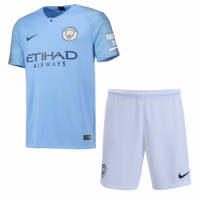 18-19 Manchester City Home Jersey Shirt Player Version Soccer Jersey Kit(Shirt+Short) picture and image