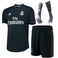 18-19 Real Madrid Away Dark Navy Player Version Soccer Jersey Whole Kit(Shirt+Short) picture and image