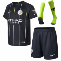 18-19 Manchester City Away Navy Soccer Jersey Kit(Shirt+Short) picture and image