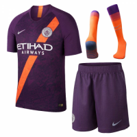 18-19 Manchester City Third Away Purple Soccer Jersey Whole Kit(Shirt+Short+Socks) picture and image