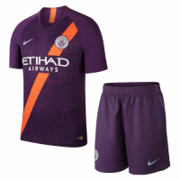 18-19 Manchester City Third Away Purple Soccer Jersey Kit(Shirt+Short) picture and image