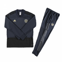 Kids 18-19 Manchester United Navy Sweat Shirt Kit(Top+Trouser) picture and image