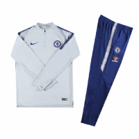Kids 18-19 Chelsea Gray&White Sweat Shirt Kit(Top+Trouser) picture and image