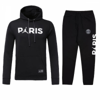 Kids 18-19 PSG JORDAN 3rd Away Black Hoody Sweat Shirt Kit(Top+Trouser) picture and image