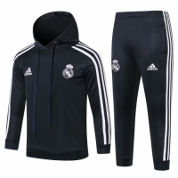 Kids 18-19 Real Madrid Gray Hoody Sweat Shirt Kit(Top+Trouser) picture and image