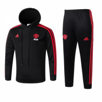 Kids 18-19 Manchester United Black Hoody Sweat Shirt Kit(Top+Trouser) picture and image