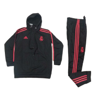 Kids 18-19 Real Madrid Black Hoody Sweat Shirt Kit(Top+Trouser) picture and image