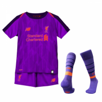 18-19 Liverpool Away Purple Children's Jersey Whole Kit(Shirt+Short+Socks) picture and image