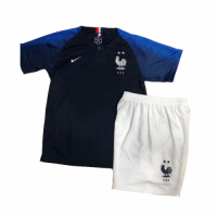 2018 World Cup France Home Shirt Two Stars Children's Jersey Kit(Shirt+Short) picture and image
