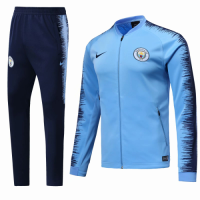 18-19 Manchester City Blue&Navy V-Neck  Training Kit(Jacket+Trousers) picture and image