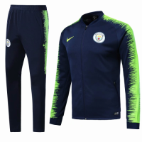 18-19 Manchester City Navy&Green V-Neck  Training Kit(Jacket+Trousers) picture and image