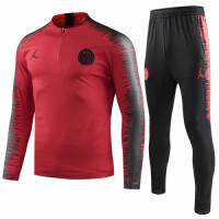 18-19 PSG JORDAN 3rd Away Player Version Red Zipper Sweat Shirt Kit(Top+Trouser) picture and image