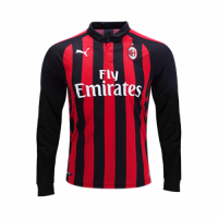 18-19 AC Milan Home Red&Black Long Sleeve Jersey Shirt picture and image