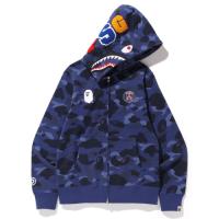 PSG X Bape Shark Full Zip Hoodie Jacket - Navy picture and image