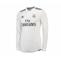 18-19 Real Madrid Home White Long Sleeve Jersey Shirt picture and image