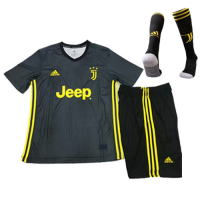 18-19 Juventus Third Away Black  Children's Jersey Whole Kit(Shirt+Short+Socks) picture and image