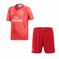 18-19 Real Madrid Third Away Red Soccer Jersey(Shirt+Short) picture and image