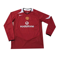 2006 Manchester United Home Red Long Sleeve Retro Jerseys Shirt picture and image